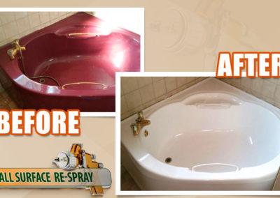 Corner bath resurfacing